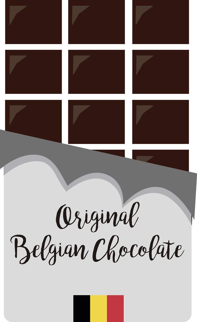 TenStickers. Sticker Vitrine Chocolat Belge. Le chocolat belge est sans conteste le meilleur chocolat du monde, montrez-le grâce à cet autocollant mural dessin de tablette de chocolat !