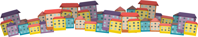 TenStickers. Coloured Houses Living Room Wall Decor. Add some coloured houses to your wall with this fantastic wall art sticker, depicting houses of all colours! Anti-bubble vinyl.