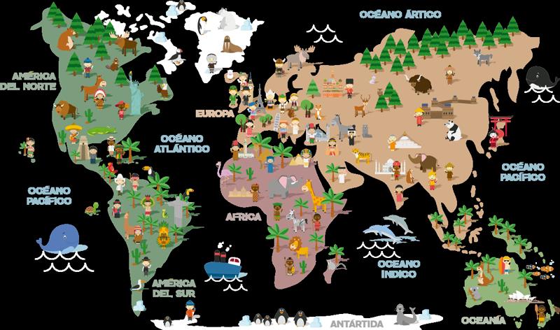 TenVinilo. Vinilo pared culturas del mundo. Mural formado por el diseño de un mapamundi con ilustraciones que representan la cultura de cada continente. Promociones Exclusivas vía e-mail.