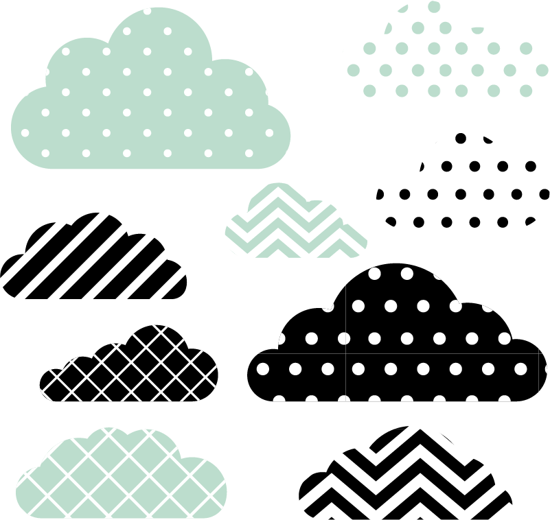 TenStickers. green and mint textures clouds line decal. Decorative mint green textured cloud decal for children bedroom space. It contains colorful strokes and dots. Available in any required size.