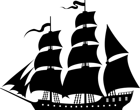 TenStickers. Sailing Ship Wall Sticker. A monochrome silhouette design of a sailing traditional ship from our collection of nautical wall stickers to decorate your home.