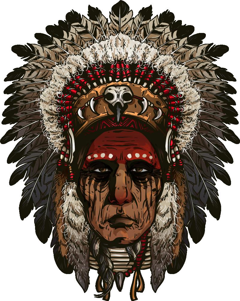 TenVinilo. Vinilo para salón Indio apache guerrero. Original pegatina adhesiva formada por el diseño de un indio apache típico de algunas zonas de México. Fácil aplicación y sin burbujas.