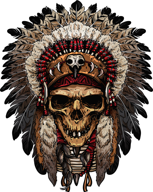 TenStickers. Apache Indian skull object wall decal. Decorative object wall sticker with the design of an Apache Indian skull. Easy to apply and available in nay required size.