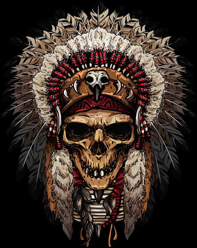 TenStickers. Sticker Maison Crâne d'Indien. Envie d'être transporté à l'époque de la conquête de l'Ouest ? Ce sticker dessin de tête de mort d'indien sera parfait !