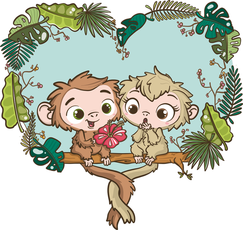 TenStickers. changuitos branches illustration wall art. Illustrative love sticker for children bedroom with the design of cute baby changuitos on a tree branch. Easy to apply and available in any size.