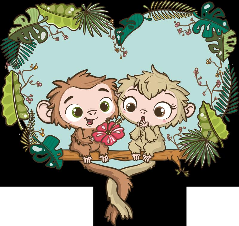 Tenstickers. Changuitos oksat kuvitus seinämaalaus. Kuvaava rakkaustarra lasten makuuhuoneeseen, jossa on söpö vauva-changuitos puun oksalla. Helppo levittää ja saatavilla kaikenkokoisina.
