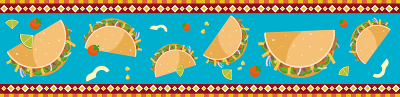 TenStickers. Tacos Art Food Border Sticker. Pay tribute to the magic of tacos and Mexican food with this superb kitchen border sticker, depicting the very thing! Extremely long-lasting material.