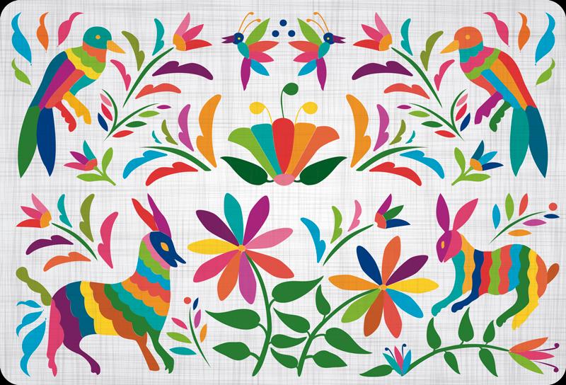 TenStickers. Autocollant Ordinateur Animaux Sauvages Colorés. Des animaux colorés et au style Amérique latine constituent les dessins de ce sticker PC original et unique ! +10.000 Clients Satisfaits.