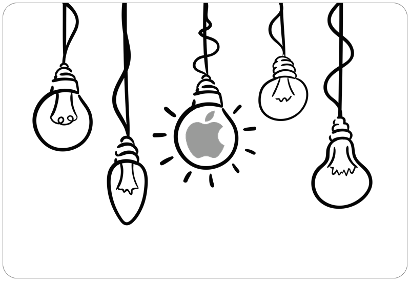 TenStickers. Lamp for Apple laptop skin. This drawing sticker for laptop will fit perfectly to any device from Apple. Ideal to have genius ideas everyday and in every situation !