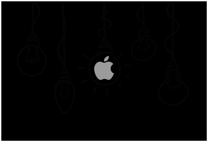 TenStickers. Lampă pentru piele laptop apple. Acest autocolant de desen pentru laptop se va potrivi perfect oricărui dispozitiv de la apple. Ideal pentru a avea idei de geniu în fiecare zi și în orice situație!