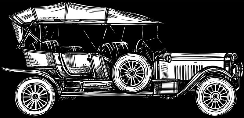 TenStickers. 福特1908年汽车贴纸. 这张精美的车贴描绘了福特1908本身,向历史上的第一辆汽车致敬!极其持久的材料。