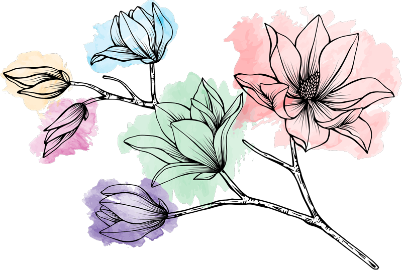 TenStickers. Magnolia for wall flower wall decal. Colorful flower plant wall art sticker with a magnolia design for home decoration. Easy to apply, self adhesive and available in any required size.