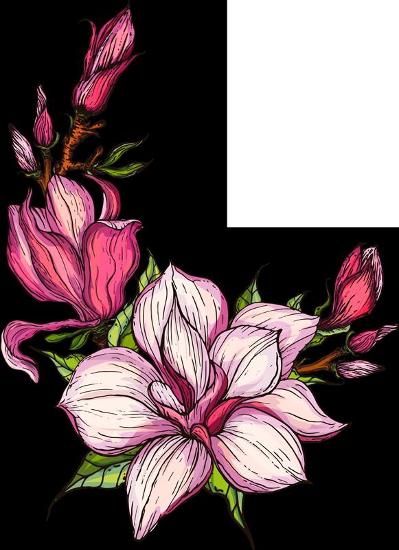 TenStickers. Adesivo murale camera da letto Disegno di magnolia. Il fiore di magnolia è un bellissimo simbolo di pace e tranquillità. Dai alle tue pareti un nuovo look per la primavera con questo design dettagliato di magnolia.