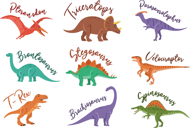 Dinosaurs With Names Animal Wall Sticker Tenstickers Dinosaur names are often made up of combinations of greek and latin root words that describe anatomical characteristics or. dinosaurs with names animal wall sticker