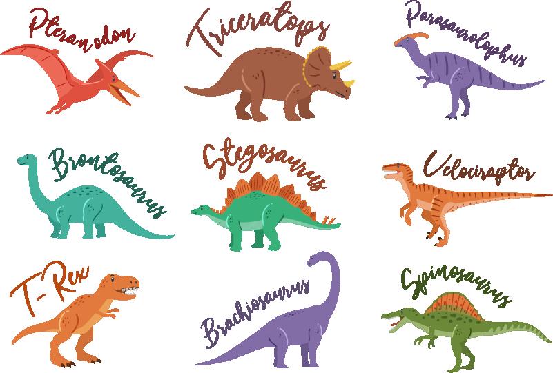 TenStickers. Dinosaurier mit namen wandtattoo. Planen sie, kinderzimmer mit wandtattoos für kinder zu dekorieren? Unsere kinder-sticker-illustration dinosaurier ist perfekt für kinder!