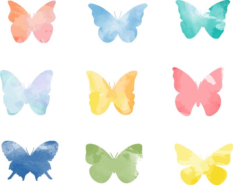 Tenstickers. Färgglada fjärilar vardagsrums vägg inredning. Lysande fjäril väggdekor är en perfekt tonåring rum dekal. Kolla våra fantastiska djur vägg klistermärken. Finns i 50 färger.