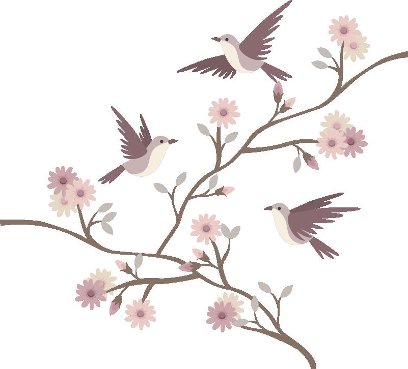 TenVinilo. Vinilo decorativo de golondrias sobre rama florida. Vinilos para cabecero de cama de golondrinas sobre una rama florida primaveral con el que decorar tu habitación de forma bonita ¡Envío gratis!