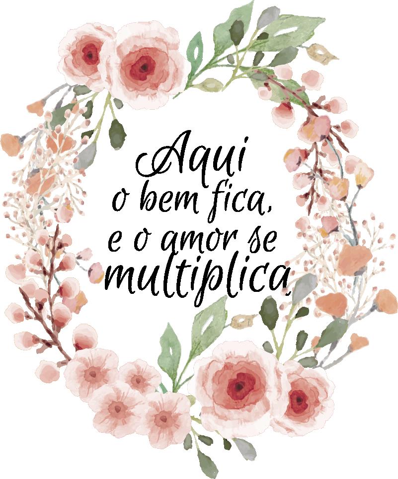 """TenStickers. Autocolantes de provérbios populares O amor fica. Autocolante decorativo de flores e plantas com a frase """"Aqui o bem fica e o amor se multiplica"""" é muito elegante e bonito."""