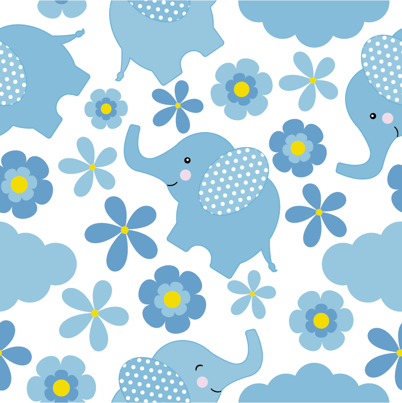 TenStickers. Floral Elephant Pattern vinyl sheet. Brighten up any playroom or bedroom in your home with these beautiful floral elephant pattern furniture sticker. Choose from a range of sizes.