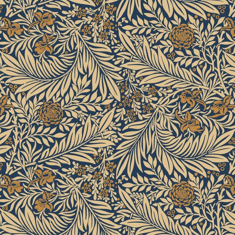 TenVinilo. Vinilo para muebles floral azul. Vinilo para muebles decorativo con un patrón de flores y hojas amarillas sobre un fondo azul para renovar tus muebles ¡Medidas personalizables!