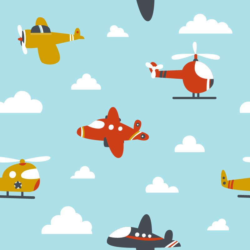 TenStickers. children's sky and planes furniture decal. Illustrative furniture sticker with sky and plane design for children to wrap the surface of cabinet, tables, wardrobe and drawers in the bedroom.