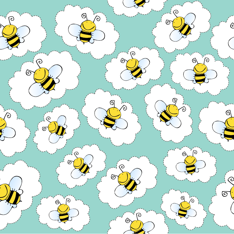 TenStickers. child clouds and bees furniture decal. Beautiful furniture sticker with the design of bees and cloud to decorate the cabinet, wardrobes and tables of children room. Easy to apply.