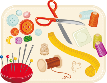 TenStickers. Sewing Kit Mural. Wall Stickers - Mural illustration of various sewing elements; needles, thread, measuring tape, buttons and more. Available in various sizes. Decals.