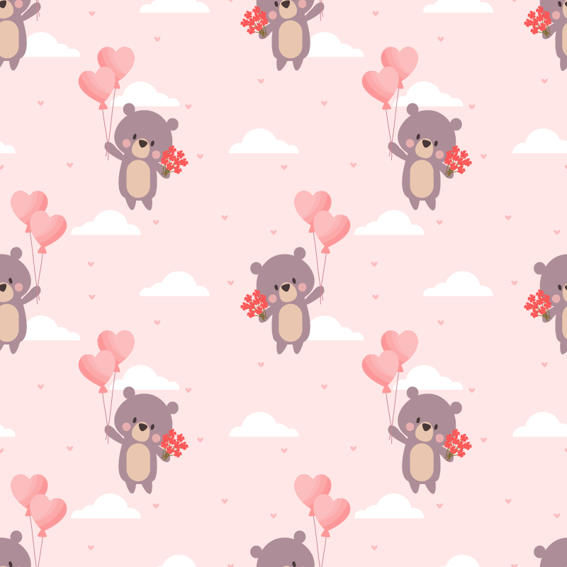 TenStickers. Childish loving bears pattern furniture decal. Decorative bear patterned furniture sticker to decorate the bedroom furniture  of children. Easy to apply and available in any size.