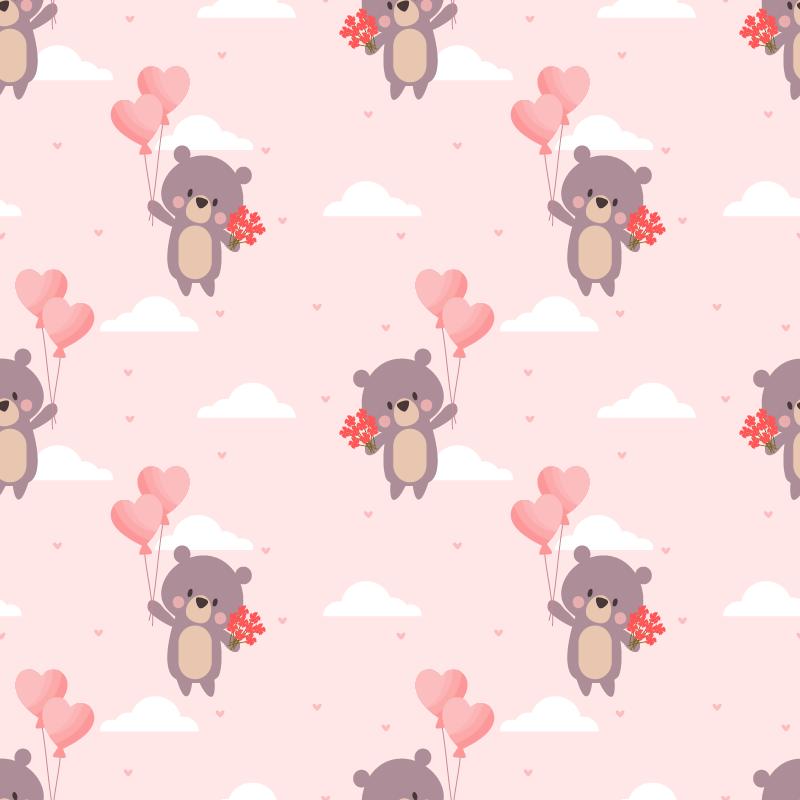 Tenstickers. Lapsellinen rakastava karhujen kuviokalustetarra. Koristeellinen karhukuvioinen huonekalutarra koristamaan lasten makuuhuonekalusteita. Helppo levittää ja saatavilla kaikenkokoisina.