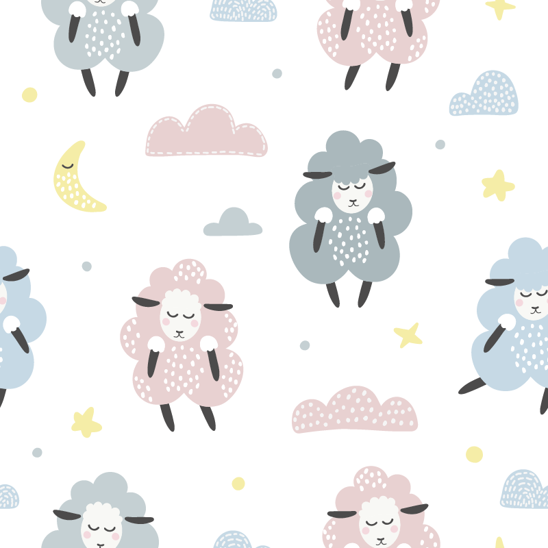 TenStickers. Childish sheep pattern furniture decal. Children sheep pattern furniture sticker to decorate cabinets and wardrobe space of children. Easy to apply and self adhesive.