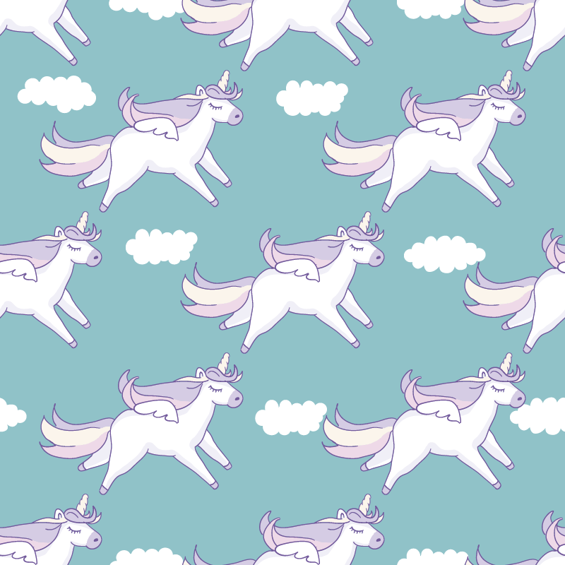 TenStickers. Childish unicorns pattern furniture decal. Decorative furniture decal with unicorn prints design for children bedroom cabinet and wardrobe. Available in any required size. Easy to apply.
