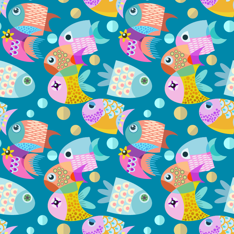 TenStickers. Baby fish furniture decal. Decorative furniture sticker with the design of little little pretty colorful fishes for children bedroom cabinets and wardrobe.