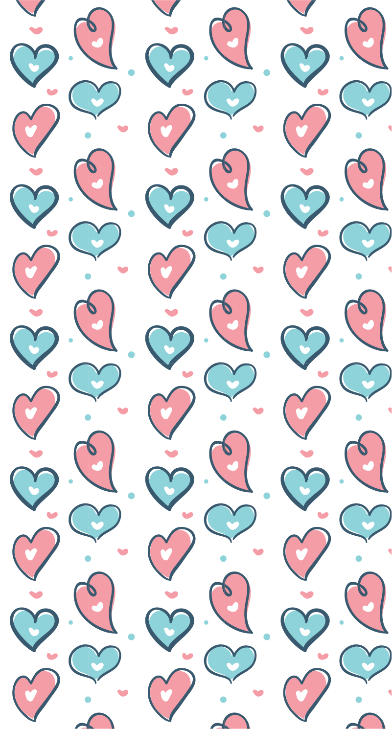 TenStickers. Hearts Drawings furniture sticker. If you desire an original home decor for your kids, this furniture sticker of several drawings of hearts in different colours will be perfect