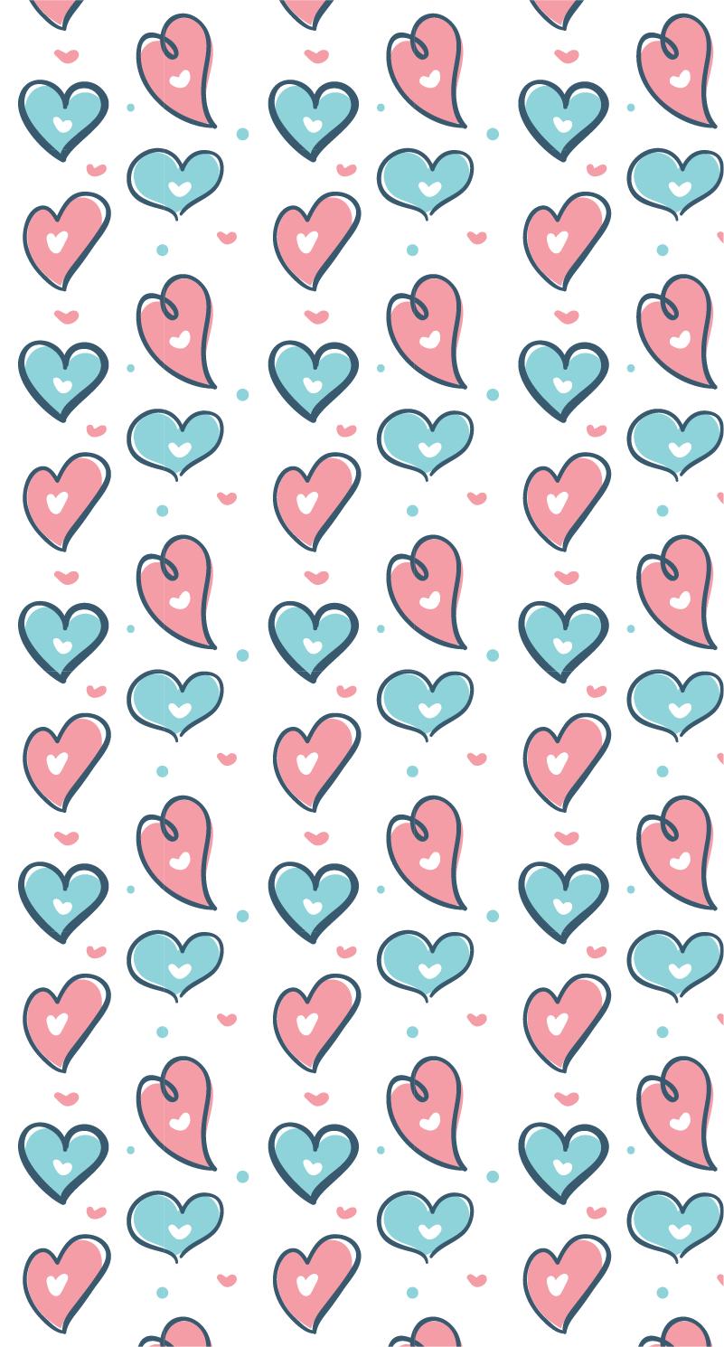 TenStickers. Inimile desene mobilier autocolant. Dacă doriți un decor original de acasă pentru copiii dvs. , acest autocolant de mobilier din mai multe desene de inimi în diferite culori va fi perfect