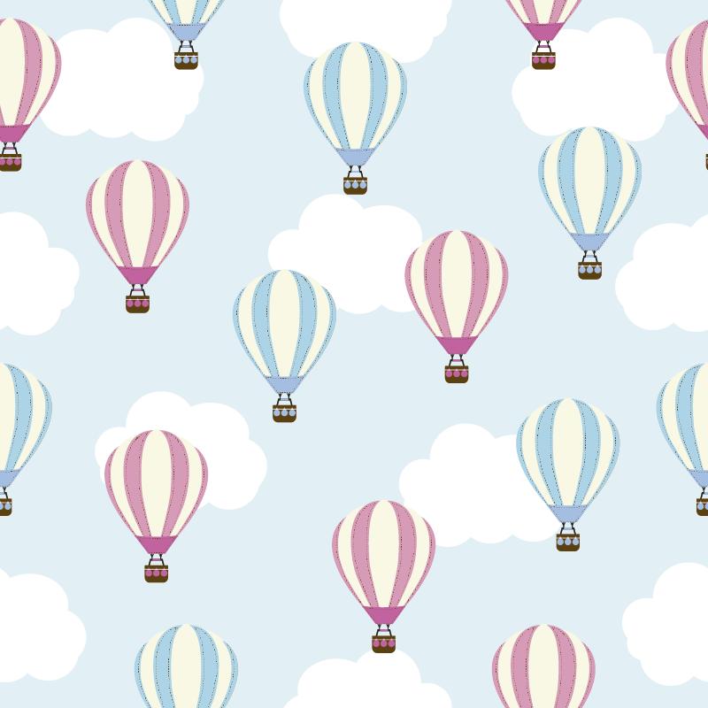 TenStickers. 孩子的蓝色和粉红色气球墙贴纸. 你想要孩子们的原始贴纸吗?这个家具乙烯基的几个云和气球图纸将带来宁静的气氛。