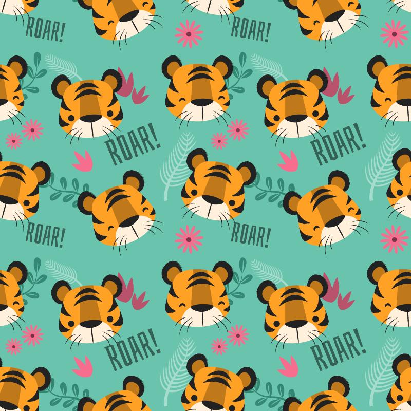 TenStickers. Tiger köpfe möbelaufkleber. Dieser illustrationsaufkleber ist perfekt für das kinderzimmer: dieses Aufkleber für wilde tiere zeigt mehrere niedliche gesichter kleiner tiger für möbel.