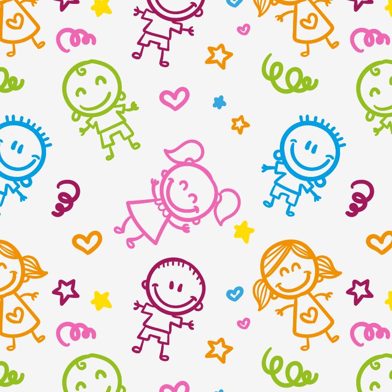 TenStickers. Pellicola adesiva per mobile bambini stilizzati. Decora in modo economico e veloce, grazie alla nostra pellicola adesiva per mobile, che presenta tante immagini di figure stilizzate colorate.