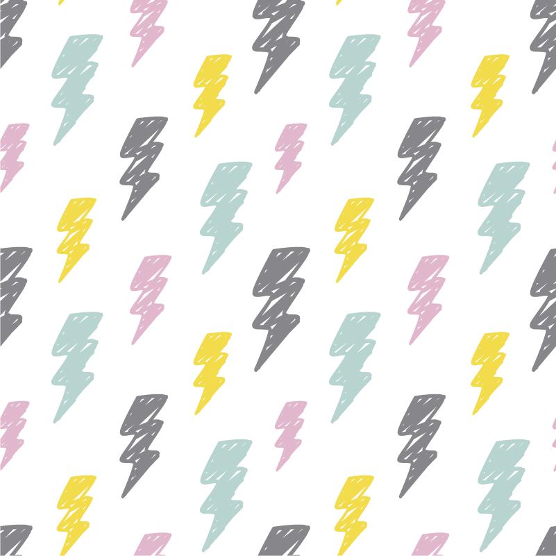 TenStickers. 孩子的风暴模式墙贴纸. 装饰你的孩子卧室,这些彩色风暴图案的儿童卧室贴纸将完美地适合他们的家具!