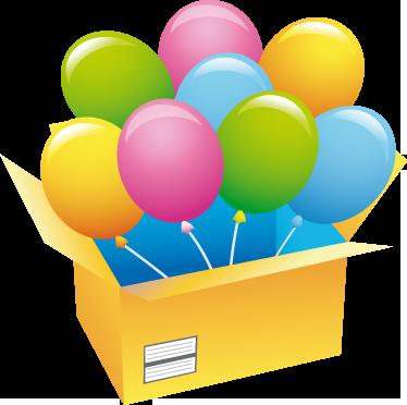 TenStickers. Sticker vitrine colis ballons. Stickers représentant des ballons sortant d'une boîte en carton.Adhésif applicable aussi bien dans un salon ou sur une vitrine de magasin.