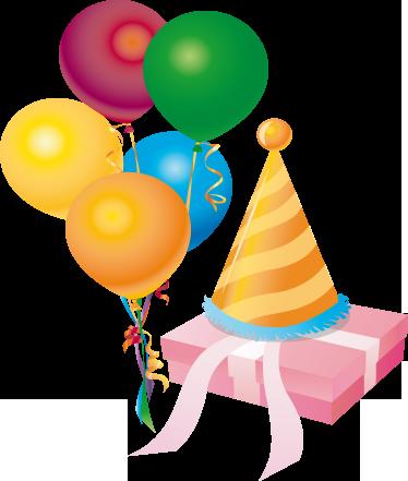 TenStickers. Sticker ballonnen kleuren feesthoed. Deze sticker omtrent een cadeautje die door verschillende ballonnen in allerlei kleuren naar boven wordt gehesen.