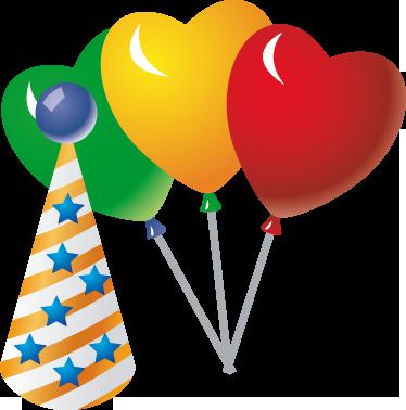 TenStickers. 孩子们聚会气球墙贴花. 儿童墙贴-色彩缤纷,充满活力的聚会装饰房间。三个带有派对帽的心形气球。