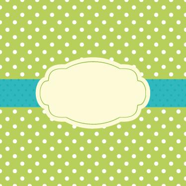 TenStickers. Sticker etichetta verde con pois. Decalcomania a pois bianchi su sfondo verde con un sigillo centrale. Indicaci nelle osservazioni il testo desiderato nell'etichetta centrale.
