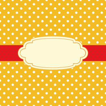 TenStickers. Vinil autocolante personalizável da oferta especial bolinhas. Autocolantes para montras personalizáveis - bolinhas brancas dispostas sobre um fundo amarelo com um selo central a vermelho onde poderá escrever um texto à sua escolha.