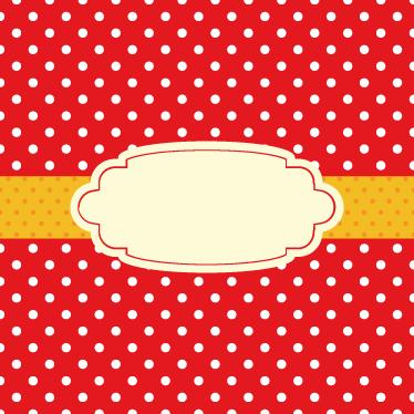 TenStickers. Sticker affiche à pois. Sticker chic rouge à pois blancs orné d'un ruban central de couleur orangée. Indiquez votre texte personnalisé en observations.