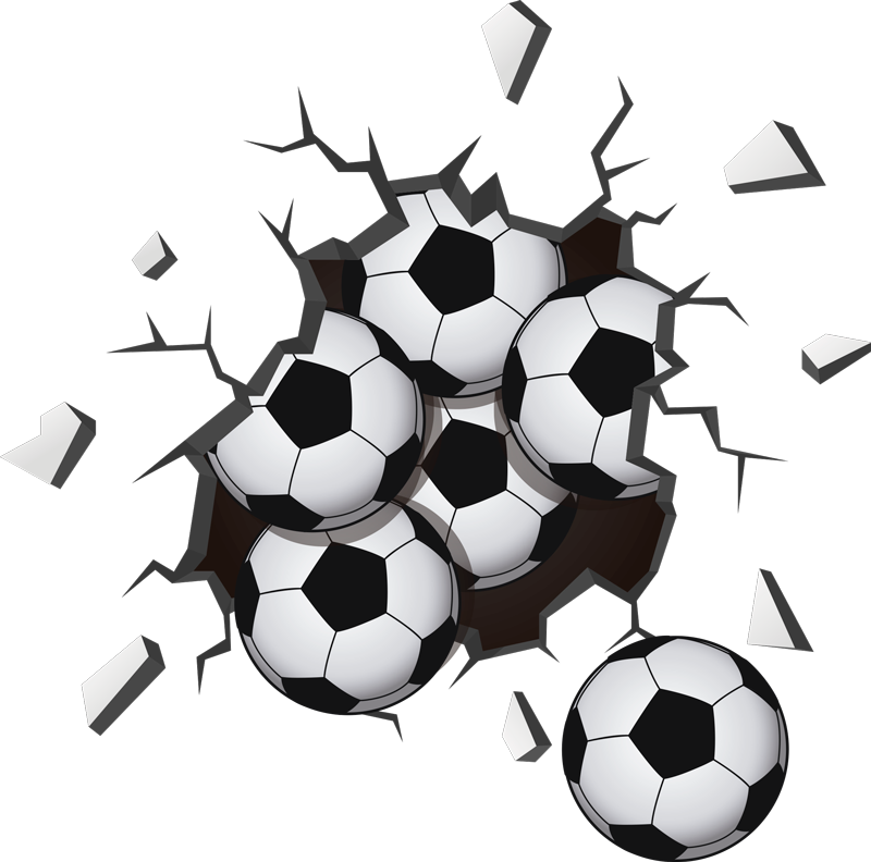 TenStickers. Balls falling from the wall football wall sticker. Football wall art sticker with the visual effect of ball falling from a wall. Available in different size. Easy to apply.