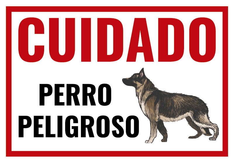 """TenVinilo. Vinilo frase cuidado con el perro. Original pegatina adhesiva para la entrada de tu hogar formada por el cartel """"CUIDADO Perro Peligroso"""". Atención al Cliente Personalizada."""