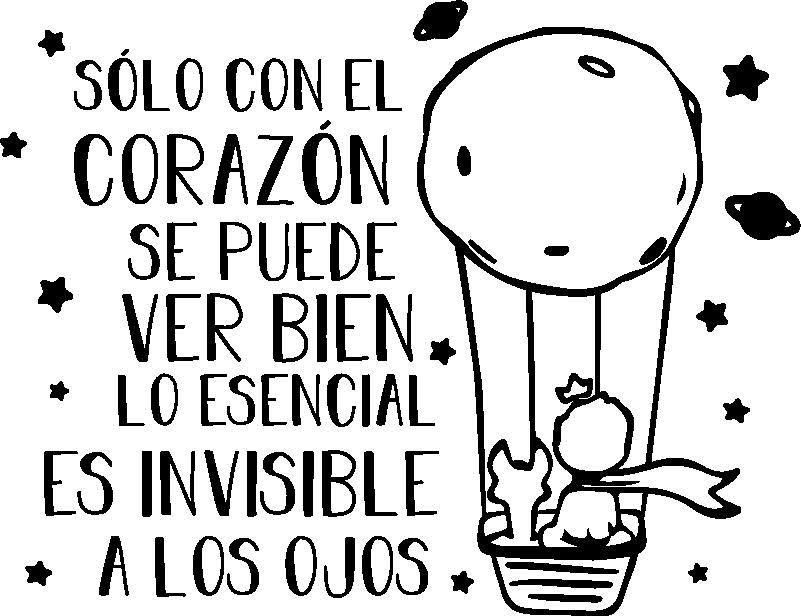 """TenVinilo. Vinilo cuento infantil el principito en globo. Mural infantil formado por la ilustración del Principito y el texto """"Sólo con el corazón se puede ver bien, lo esencial es invisible a los ojos""""."""