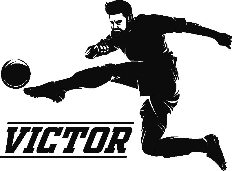 Tenstickers. Fotballspiller med navngitte hjemmemuren klistremerke. Hvis du er en stor fan av sport, og spesielt av fotball, vil du elske denne sports-klistremerket som representerer en fotballspiller midt i hans trekk.
