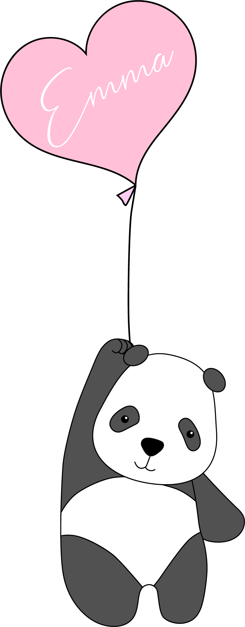 TenStickers. Panda with Balloon Personalised Sticker. This personnalized animal wall sticker of a panda with balloon will bring a joyful atmosphere to any type of kids bedroom.