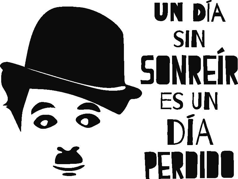 """TenVinilo. Vinilo frase sonreír charles chaplin. Pegatina formada por la frase célebre """"Un día sin sonreír es un día perdido"""" y la cara del humorista Charles Chaplin. Descuentos para nuevos usuarios."""